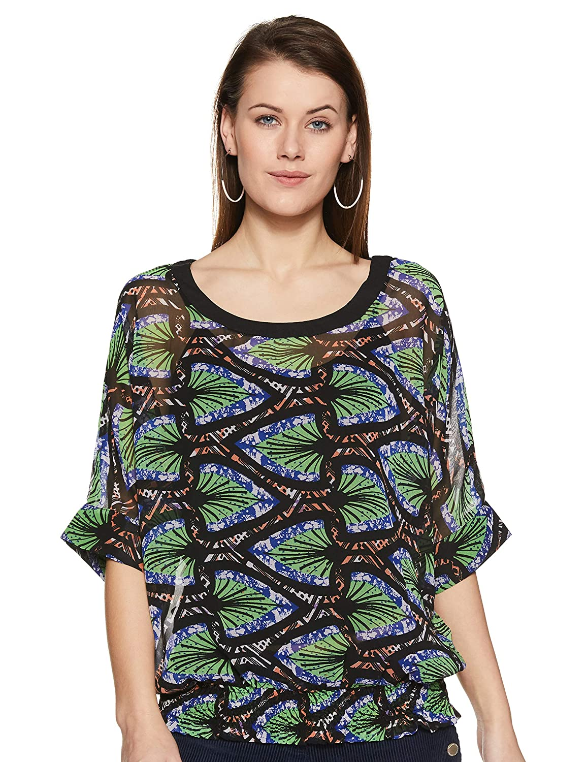 903a3baa THE VANCA Women's Black Casual Top in Printed Fabric: Amazon.in: Clothing &  Accessories