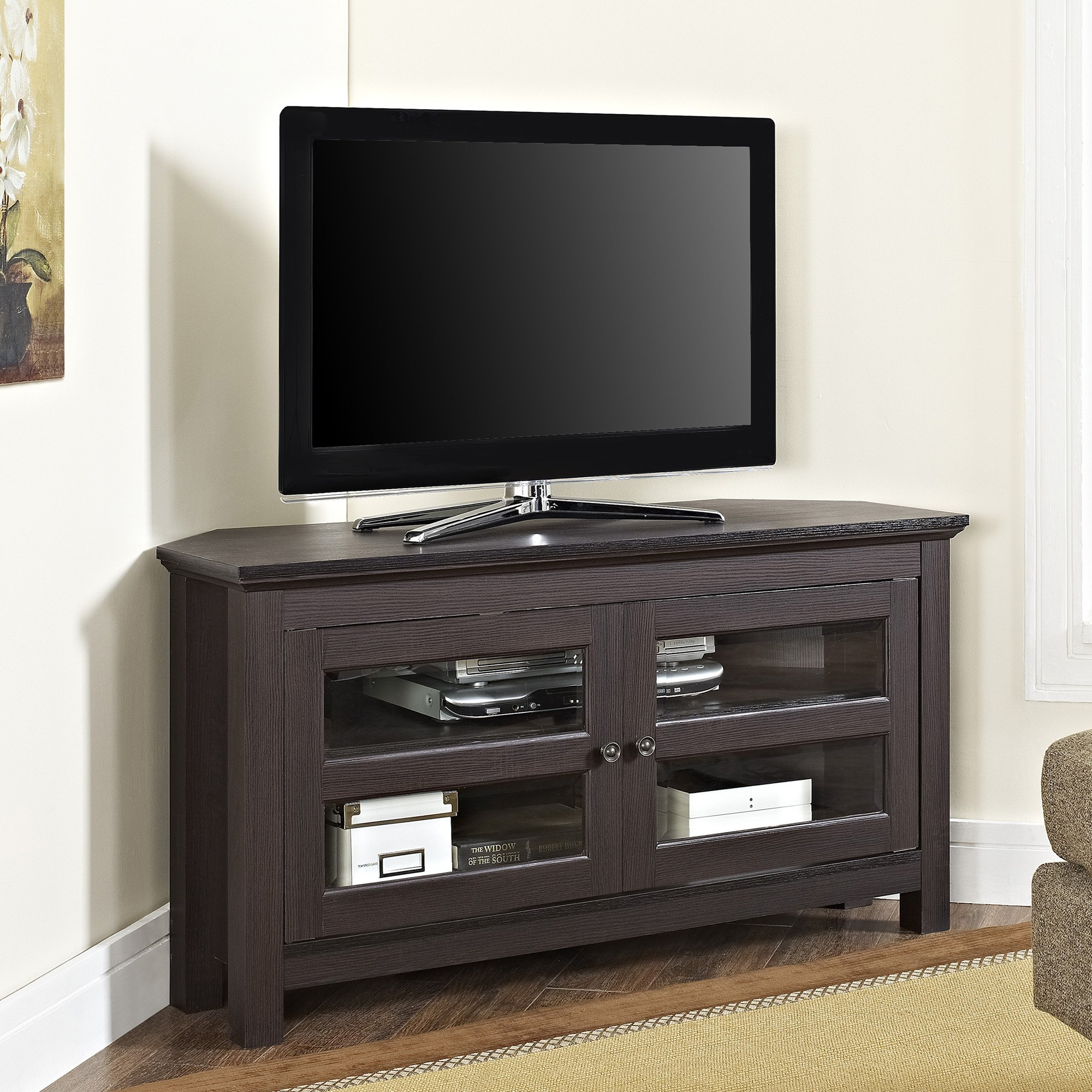 WE Furniture Modern Farmhouse Wood Corner TV Stand for TV's up to 48'' Living Room Storage by WE Furniture