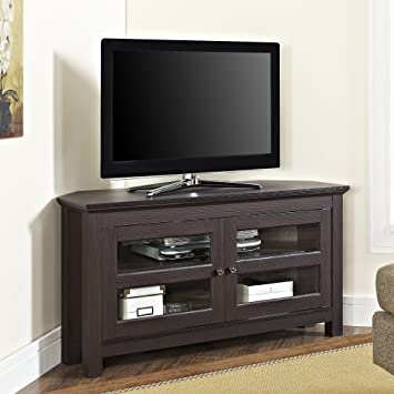 WE Furniture Modern Farmhouse Wood Corner TV Stand for TVs up to 48