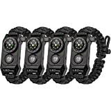 A2S Protection LEDway Paracord Bracelet Tactical Survival Gear Kit 6-IN-1- Best Father's Day Gift - Compass LED SOS Emergency Function Flashlight -Fire Starter Emergency Knife & Whistle.