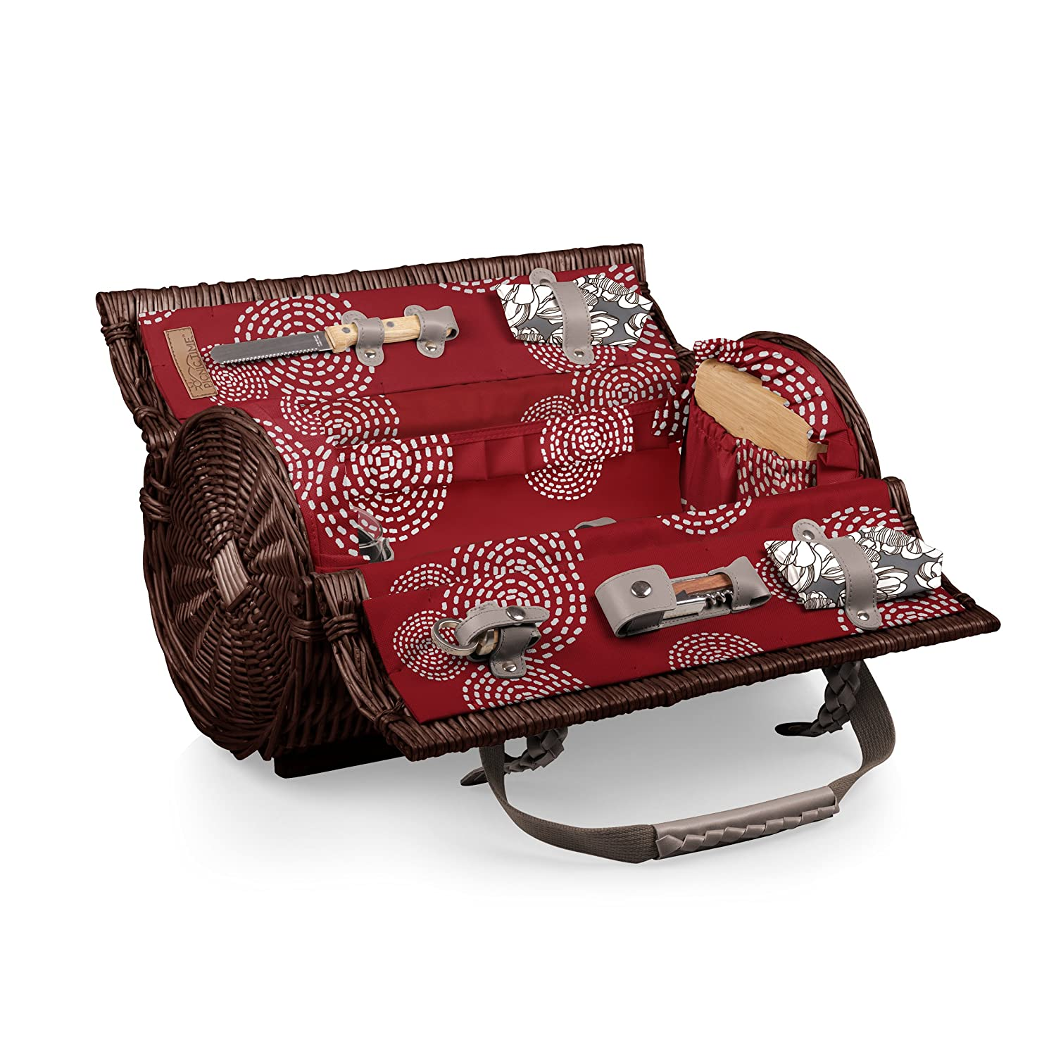Adeline Collection Picnic Time Verona Insulated Wine Basket with Wine//Cheese Service for Two