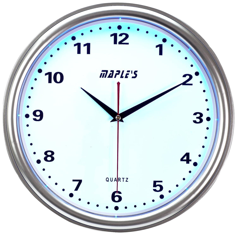 Maples Clock Blue LED Plastic Wall Clock 14-Inch