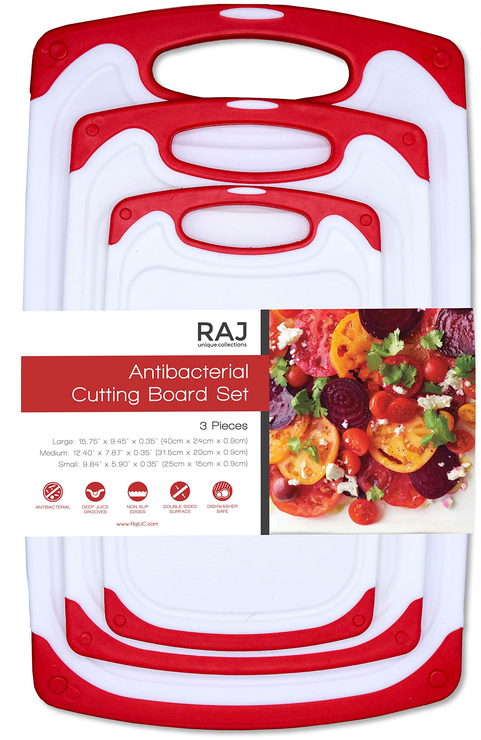 Raj Non-Slip Antibacterial Plastic Cutting Board, Deep Juice Groove, Dishwasher Safe, BPA Free, FDA Approved White and green (3 Pieces, White board with Red Ends)