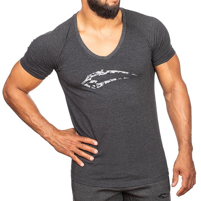 SMILODOX - Camiseta de hombre con cuello en V  0076122642e50