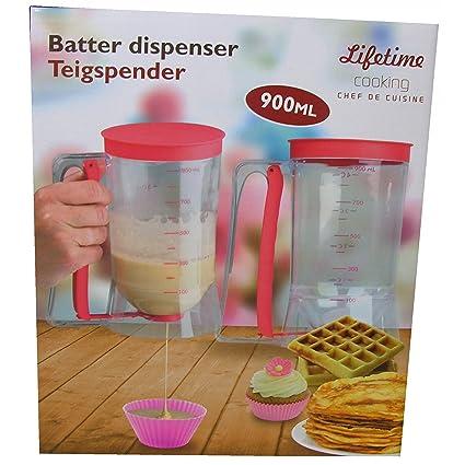 Dispensador de masa – Dosificador – Dosificador – Jarra medidora 900 ml rojo Muffin gofres Hornear
