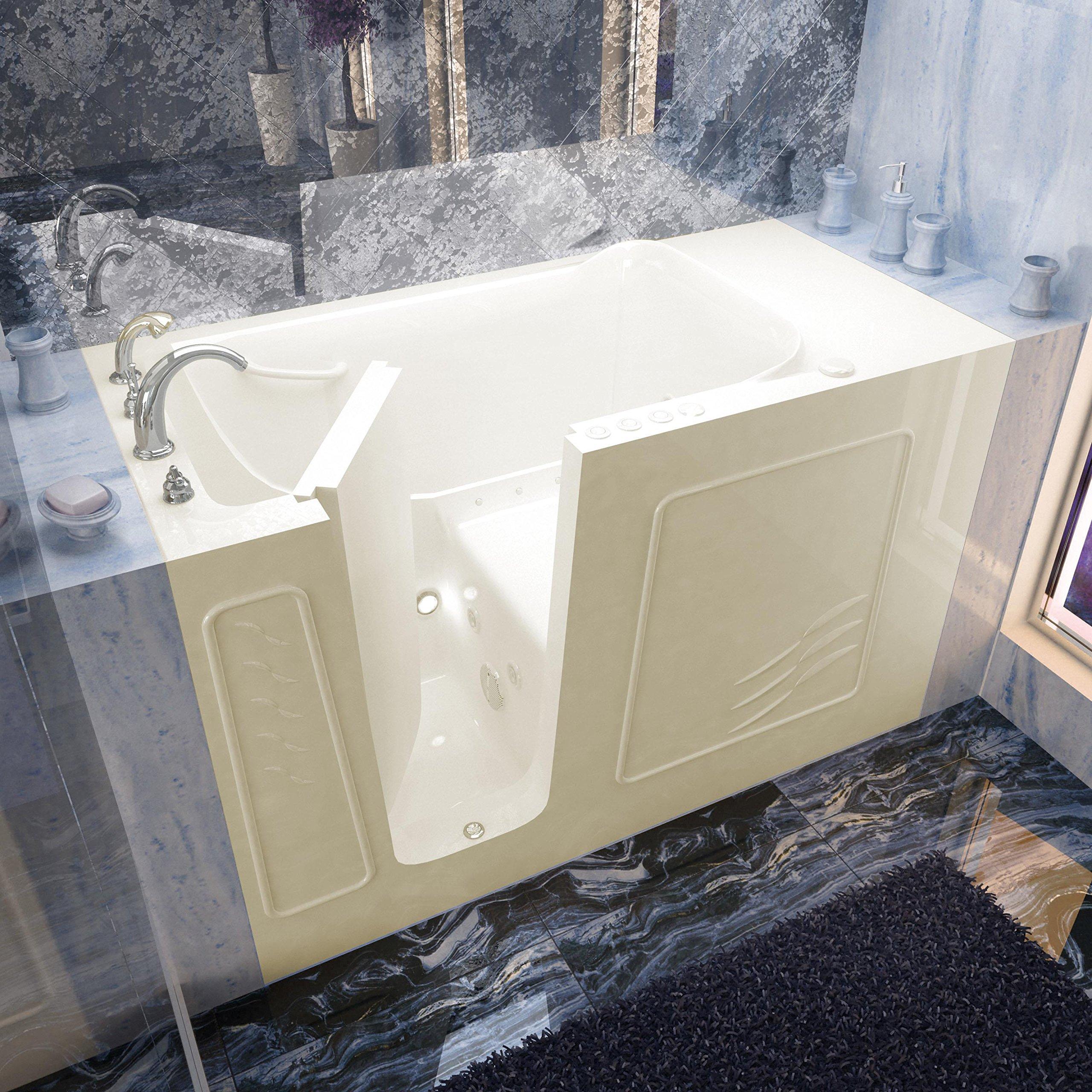 Spa World Venzi Vz3060wilbd Rectangular Air & Whirlpool Walk-In Bathtub, 30x60, Left Drain, Biscuit