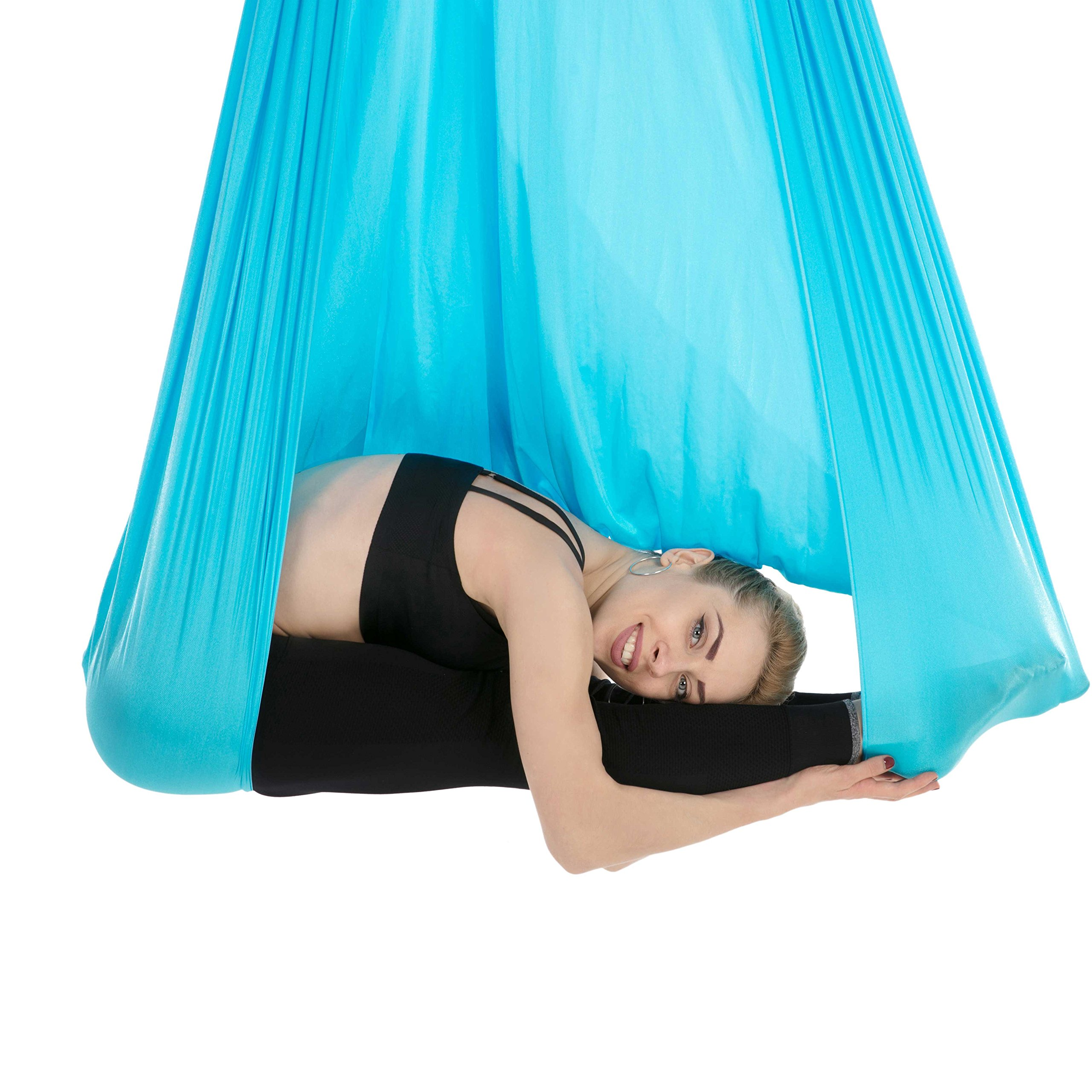 Tofern Aerial Yoga Hammock Kit 5.5 Yards Antigravity Trapeze Inversion Exercise Home Indoor Outdoor Yoga Silk Swing Sling Set with Hardware Ceiling Hooks Bolts 2 Extension Straps, Sky Blue by Tofern (Image #3)