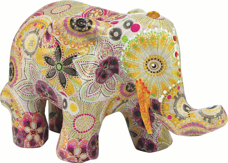 D/écopatch Mache Sitting Elephant Brown 11 x 10 x 17 cm