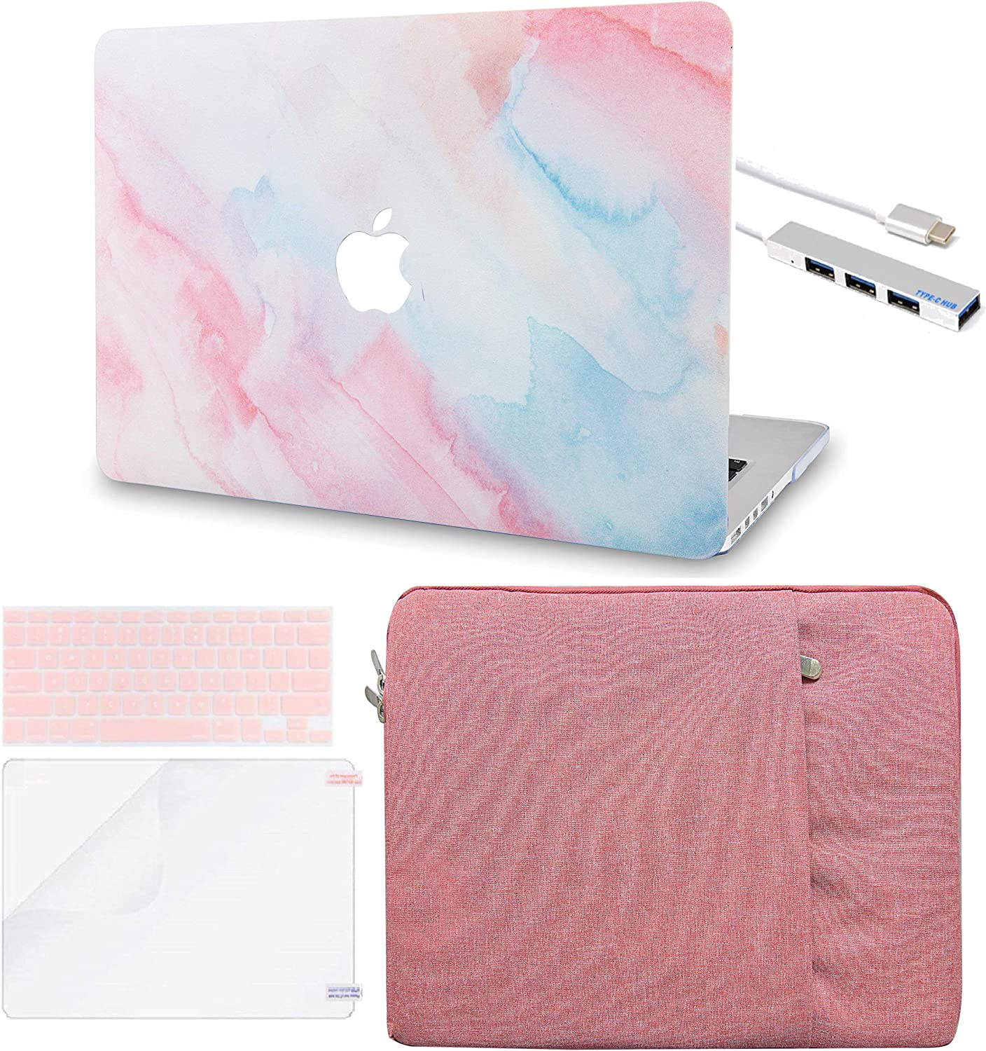 """LuvCase 5in1 LaptopCase for MacBook Pro 13""""(2020) with Touch Bar A2251/A2289HardShellCover, Sleeve, USB Hub 3.0, Keyboard Cover&Screen Protector (Pale Pink Mist)"""