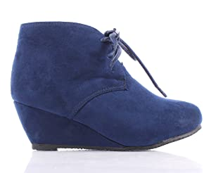 Faux Suede Lace up Girls Wedges High Heels Kids Ankle Boots (10, Navy)