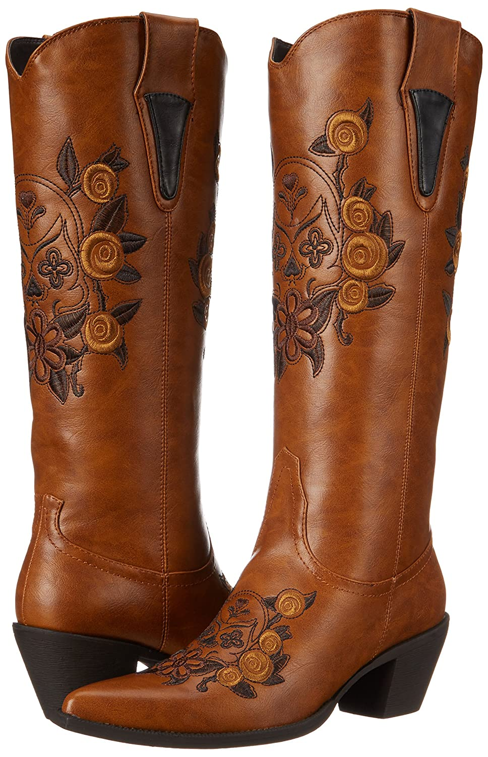 Roper Women's Dawn Western Knee-High Boot Tan B0044QYFX4 5.5 B(M) US|Floral/Skull Tan Boot 062161