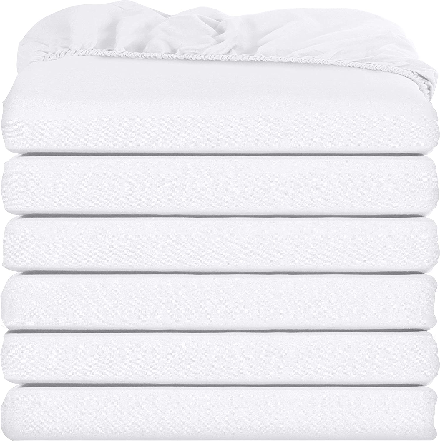 Utopia Bedding Fitted Sheets - Pack of 6 Bottom Sheets - Soft Brushed Microfiber - Deep Pockets, Shrinkage & Fade Resistant - Easy Care (Queen, White): Home & Kitchen