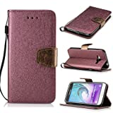 BONROY® Magnetic Flip Cover for Samsung Galaxy J3 (2016) J310,Solid color silk pattern Wallet Case with Hand Strap for Samsung Galaxy J3 (2016) J310, Premium PU Leather Folio Style Retro PU Leather Wallet Flip with Card Slots and and Stand Function Case Cover for Samsung Galaxy J3 (2016) J310