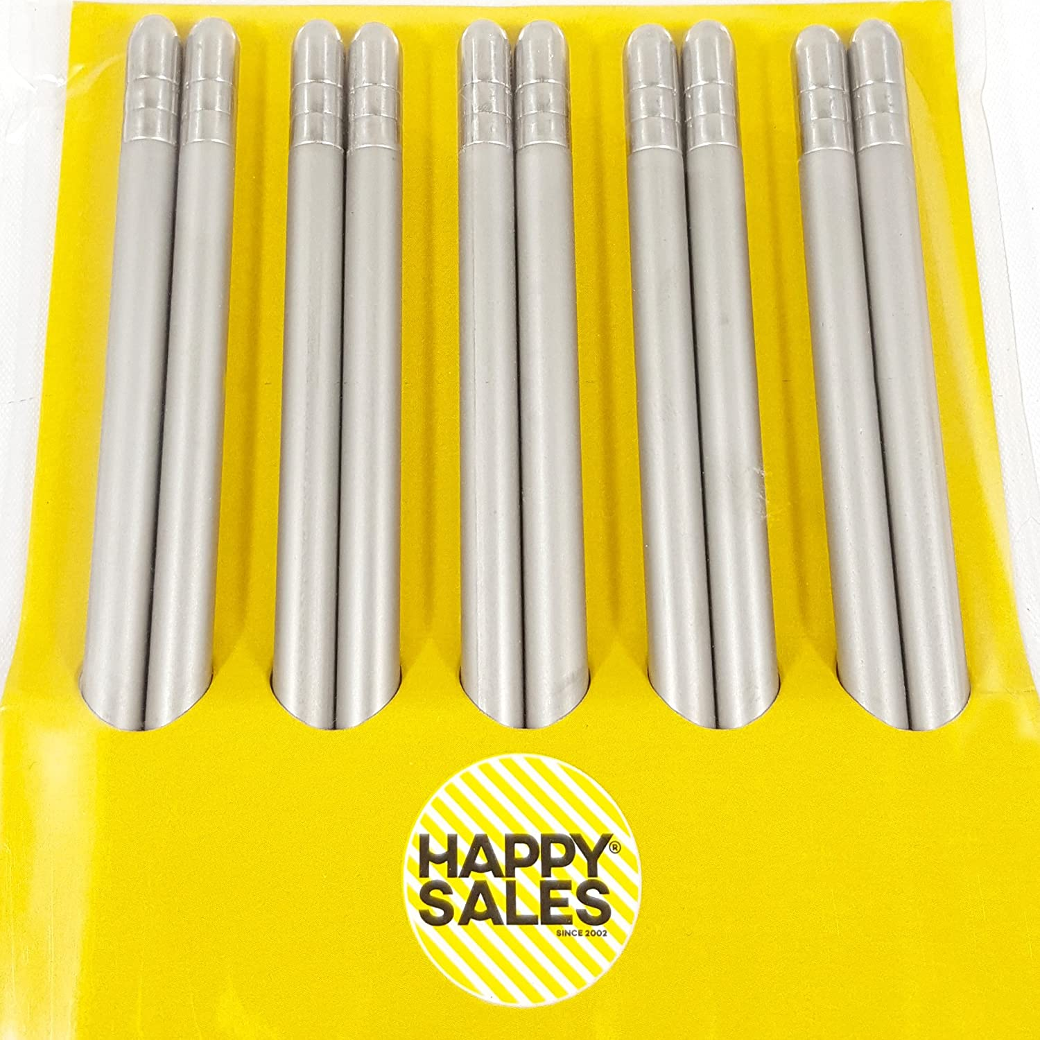 Happy Sales HSCS-SBR27 5 Pairs Brushed Stainless Steel Chopsticks