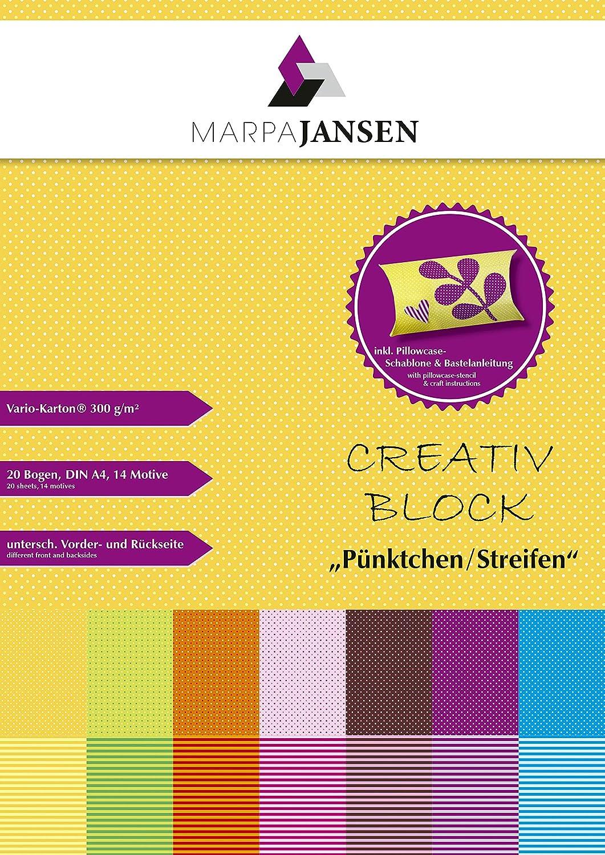 inkl Block DIN A4, 20 Bogen, 300g//m/² - Bunte Vielfalt MarpaJansen Creativ Vorlagebogen f/ür Geschenkverpackungen