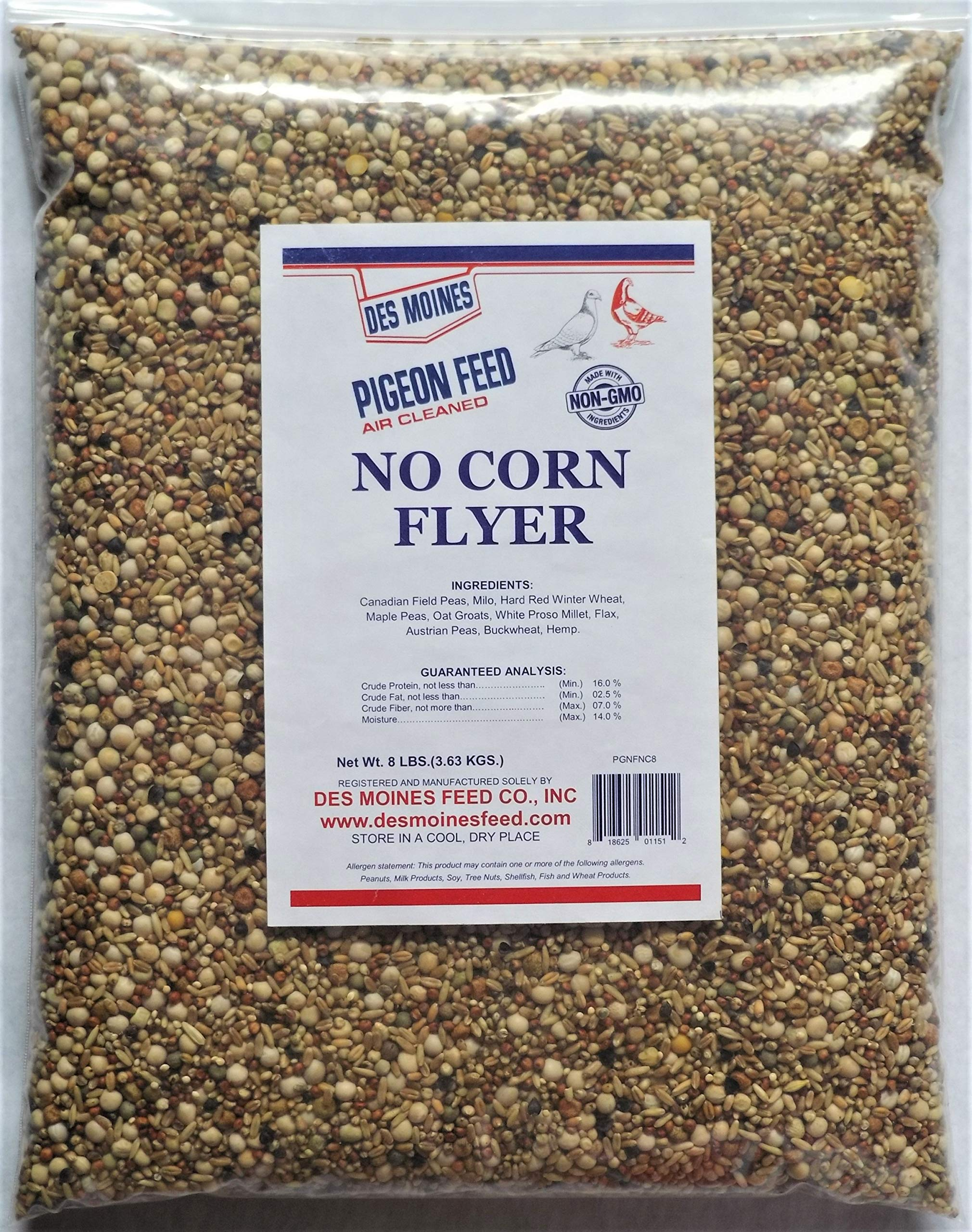 No Corn Flyer Pigeon Mix (16%) 8 lbs by Des Moines Pigeon Feed