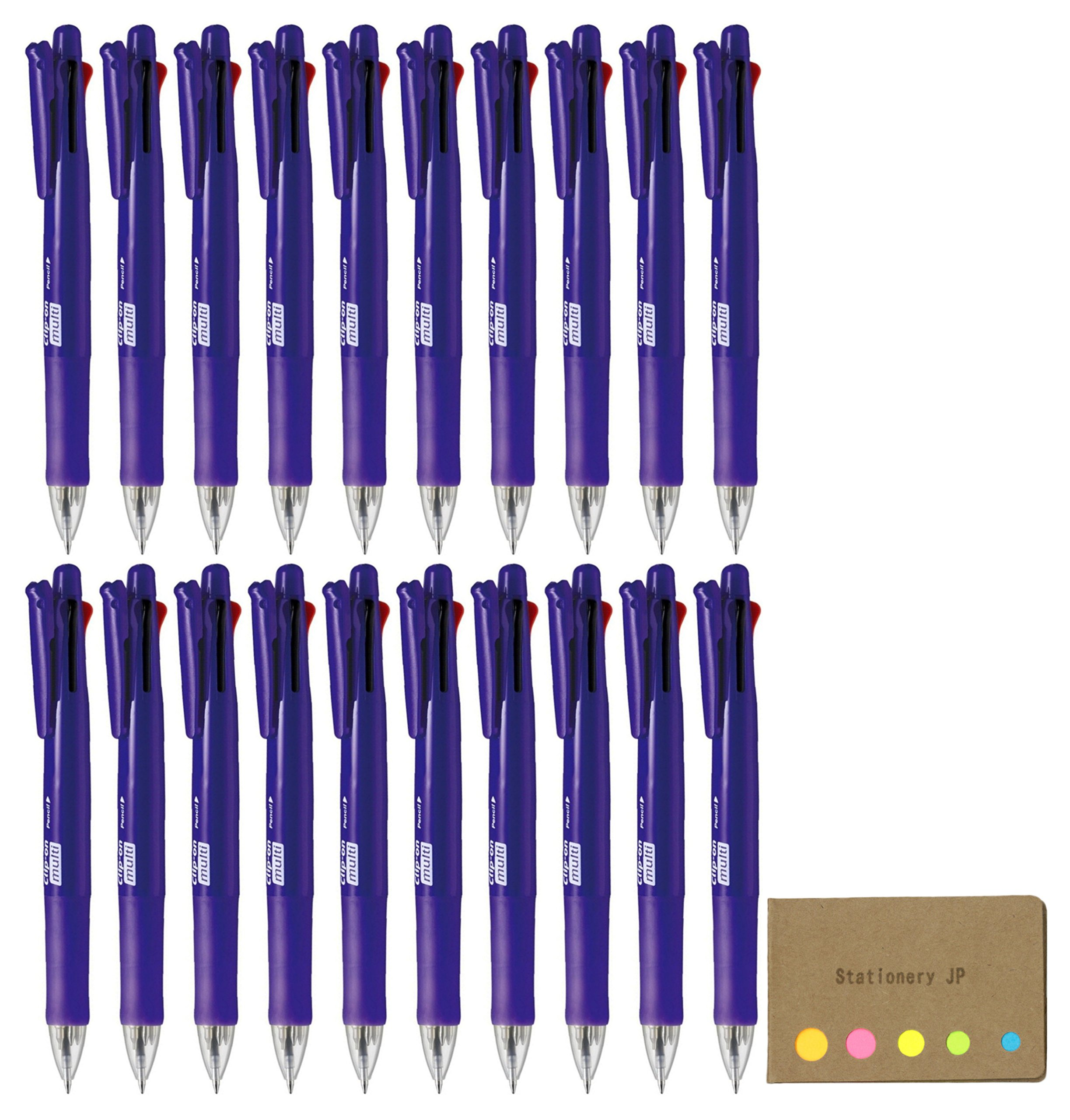 Zebra B4SA1 Clip-on multi F 0.7mm Multifunctional Pen, Elegant Violet Body, 20-pack, Sticky Notes Value Set by Stationery JP (Image #1)