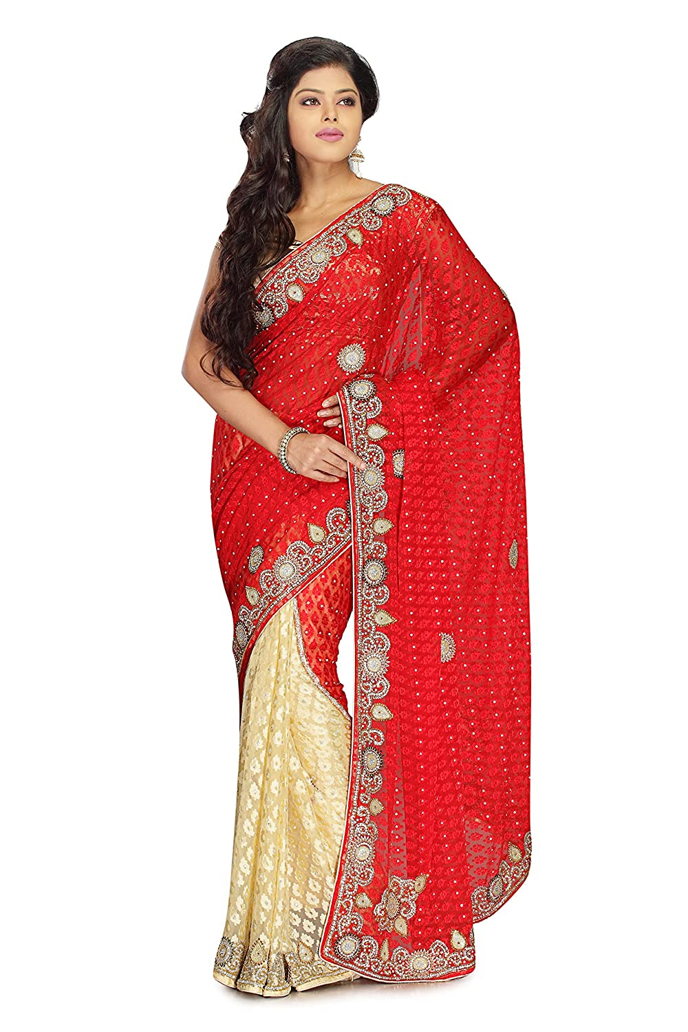Indian Ethnic Faux Brasso Georgette Multicolor Half And Half Saree