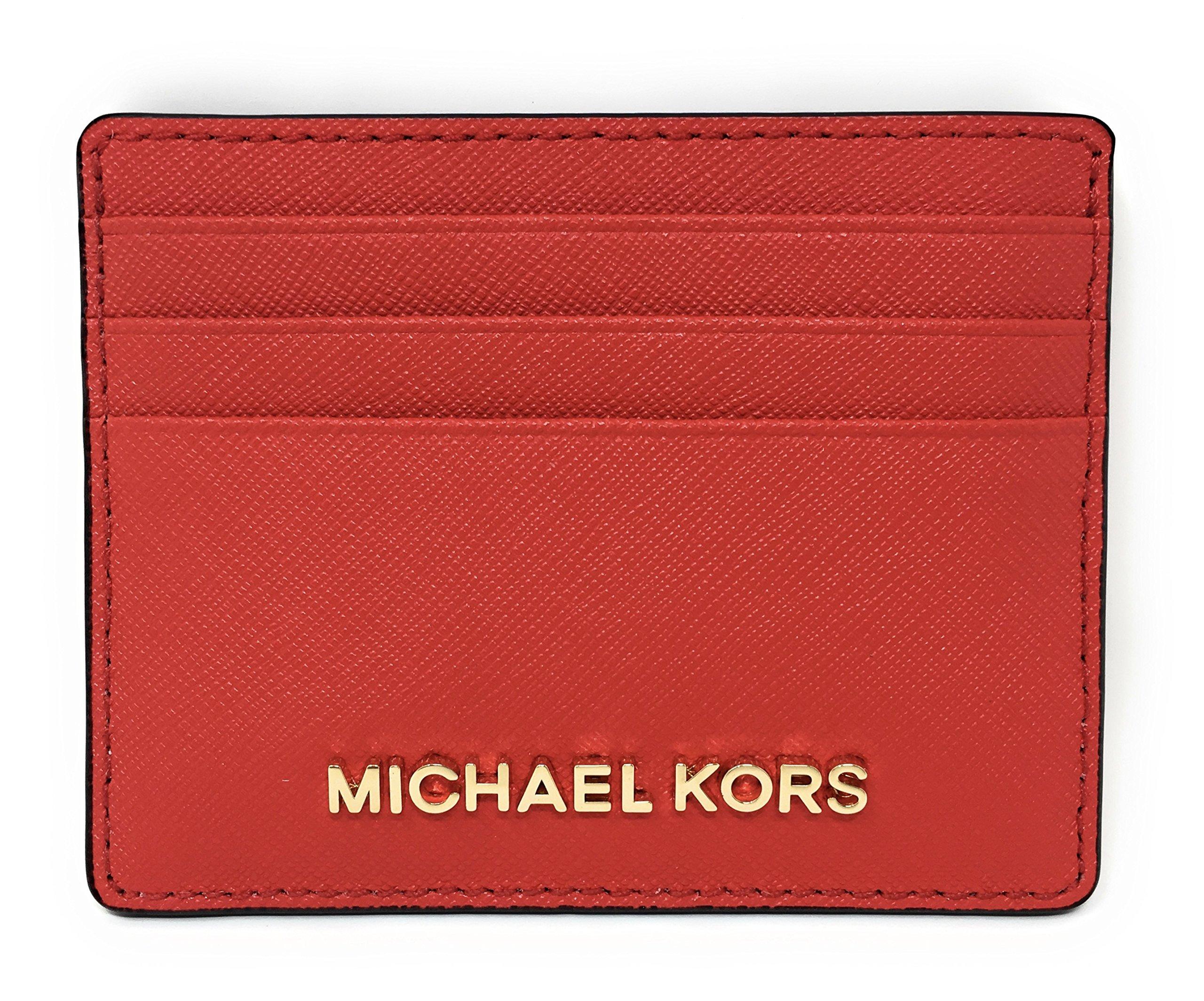Michael Kors Jet Set Travel Large Saffiano Leather Card Holder (Dark Sangria)