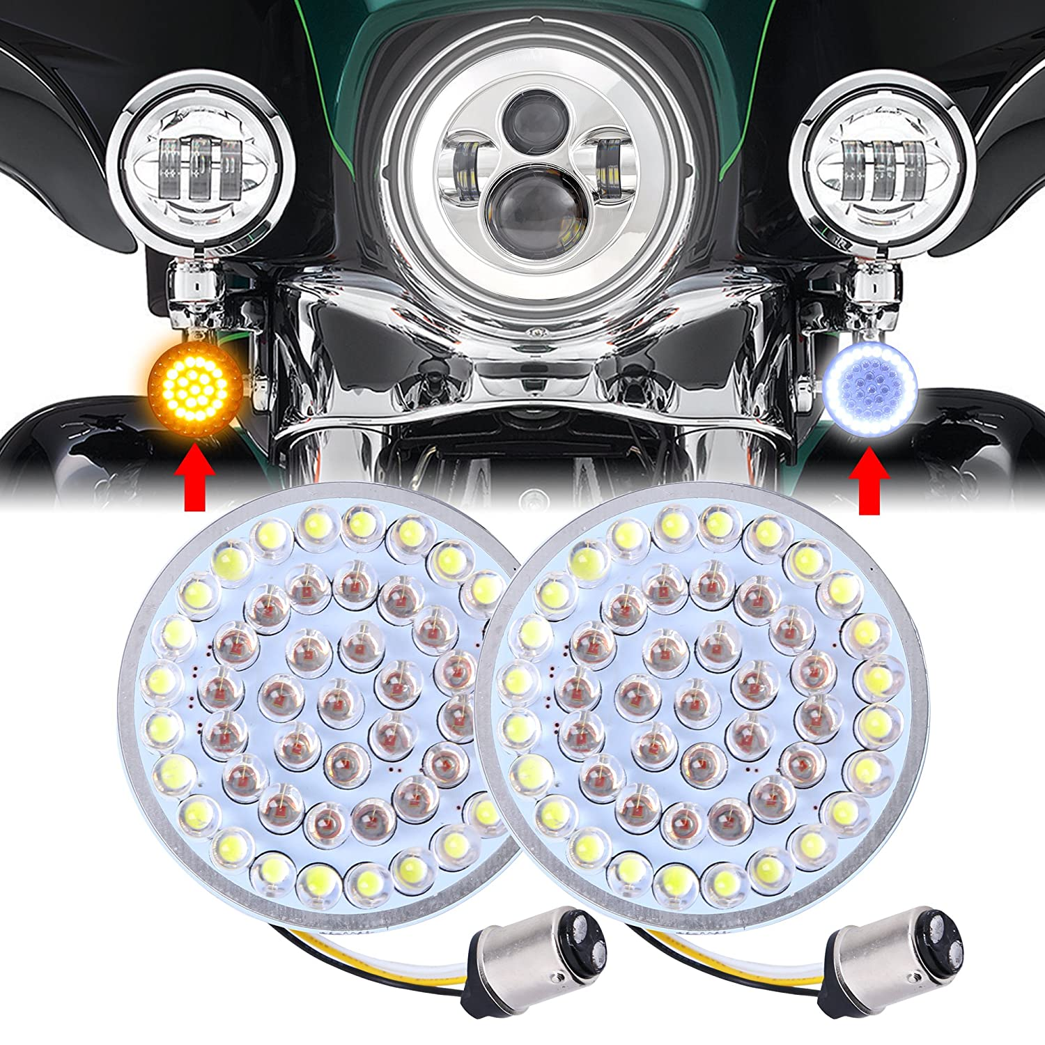 Pair Motorcycle 2inch Bullet Style 1157 White DRL Amber Turn Signal LED Inserts For Harley Softail 2011-2017 Dyna 2012-2017 Sportster Touring 2014-2017 Audexen