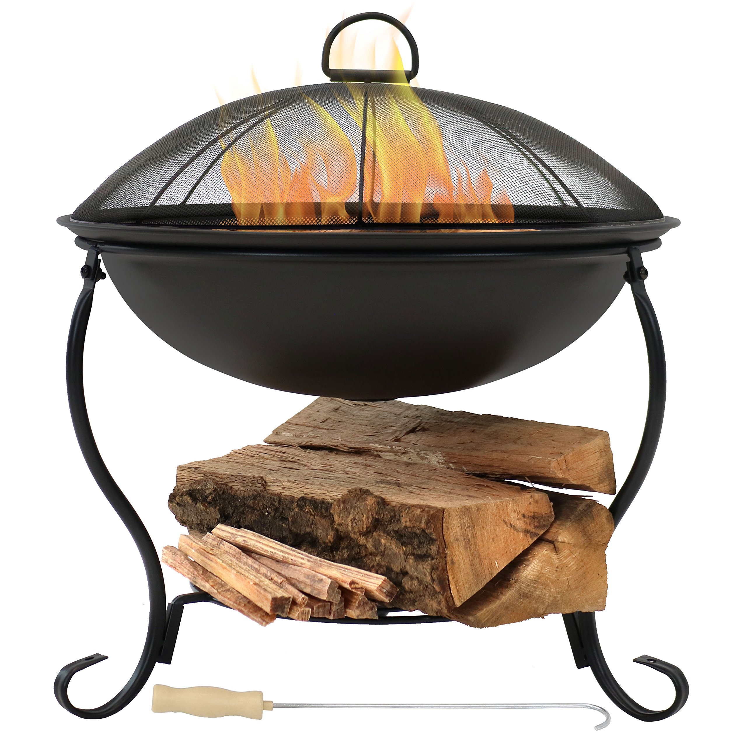 Sunnydaze Elegant Fire Pit Bowl, Outdoor Wood Burning Patio Fireplace with Spark Screen and Built-in Log Holder, 18-Inch