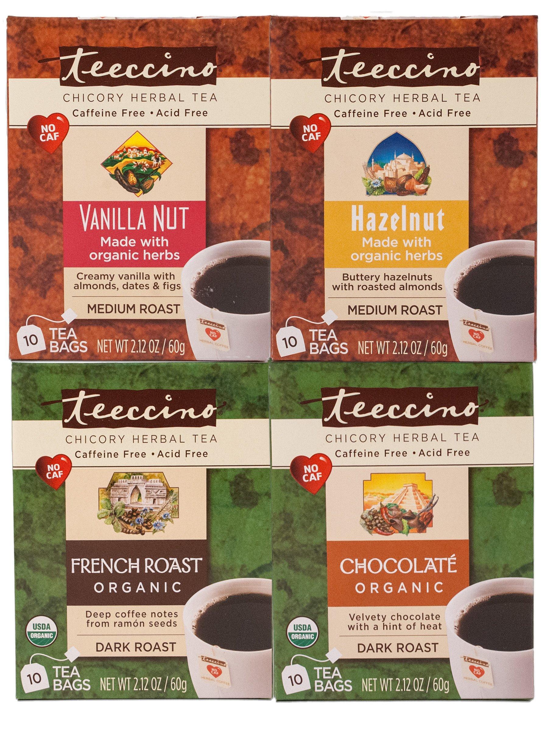 Teeccino Coffee Variety Pack (Vanilla Nut, Hazelnut, Chocolaté, French Roast) Chicory Herbal Tea Bags, Caffeine Free, Acid Free, 10 Count (Pack of 4)