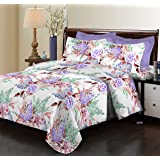 Bombay Dyeing Elixir Collection Flat Double Bedsheet with 2 Pillow Cover, 229 x 254 cm, Purple, 3976 B