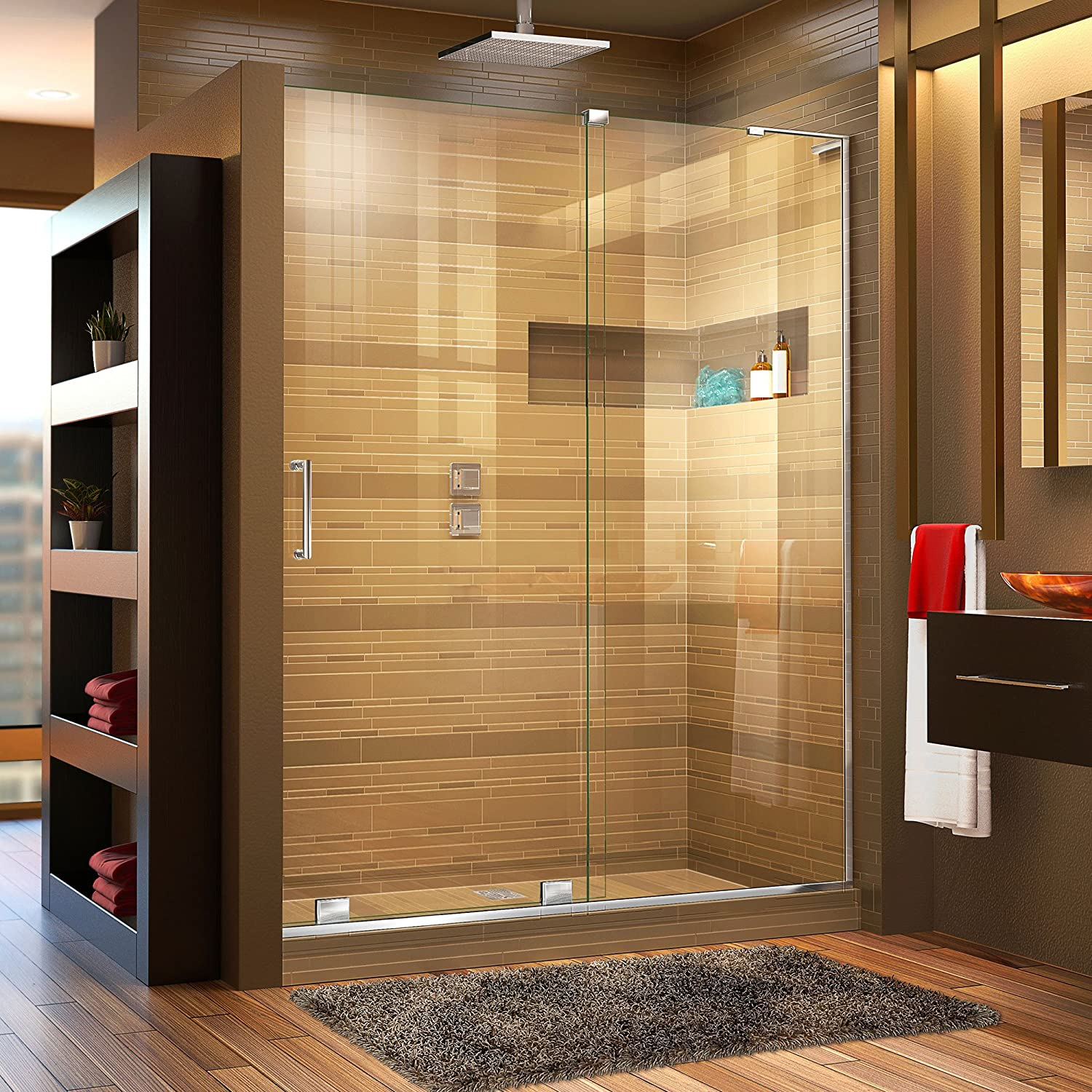 DreamLine Mirage-X 56-60 in. Width, Frameless Sliding Shower Door, 3 8 Glass, Chrome Finish