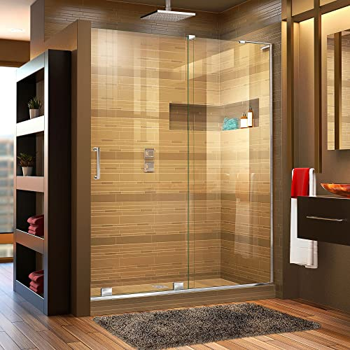DreamLine Mirage-X 56-60 in. W x 72 in. H Frameless Sliding Shower Door in Chrome Right Wall Installation, SHDR-1960723R-01