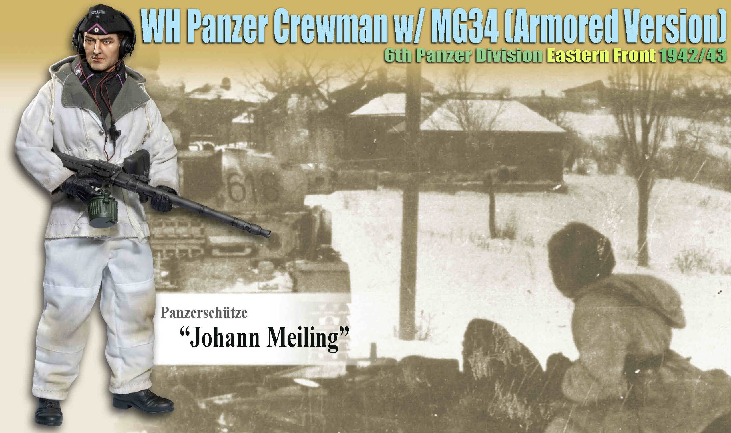 Dragon Models 1/6 ''Johann Meiling'' (Panzerschtze) - WH Panzer Crewman w/MG34 (Armored Version) 6th Panzer Division, Eastern Front 1942/43 by Dragon Models USA (Image #2)