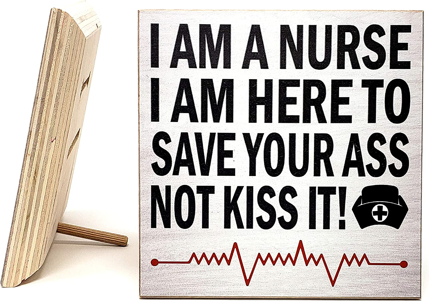 JennyGems Nurse Gift Sign| Funny Nurse Plaque Sign | Gift for Nurse | Nurses Gift | Wood Sign Hangs or Stands (White)| Made in USA