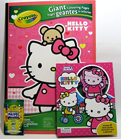 Hello Kitty Giant Coloring Pages Bundle With Book And Blocks Crayola Mighty Marks Washable Markers