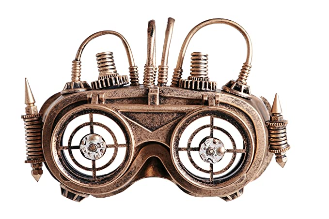Steampunk Accessories | Goggles, Gears, Glasses, Guns, Mask Arsimus Steampunk Copper Victorian Binoculars Goggles Burning Man Target Wire Mask Eyewear $26.99 AT vintagedancer.com