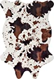 MustHome Cow Print Rug 5x4.4 Feet Faux Cowhide Rug for Kids Rooms/Living Room
