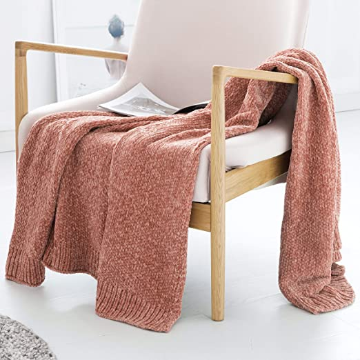chenille throw blanket pink