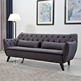 Mid Century Modern Tufted Linen Fabric Sofa in Colors Dark Grey, Light Grey, and Purple (Dark Grey)
