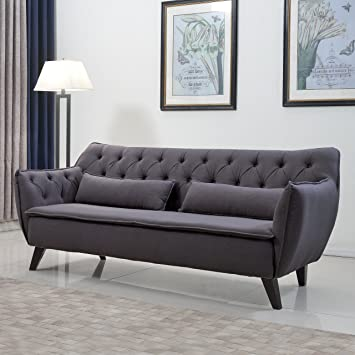 Mid Century Modern Tufted Linen Fabric Sofa In Colors Dark Grey, Light Grey,  And