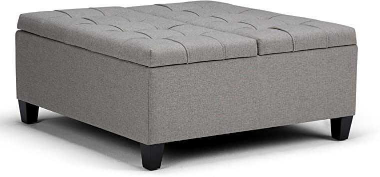 Simplihome Harrison 36 Inch Wide Square Coffee Table Lift Top Storage Ottoman Cocktail Footrest Stool In Upholstered Dove Grey Tufted Linen Look Fabric For The Living Room Traditional Furniture Decor