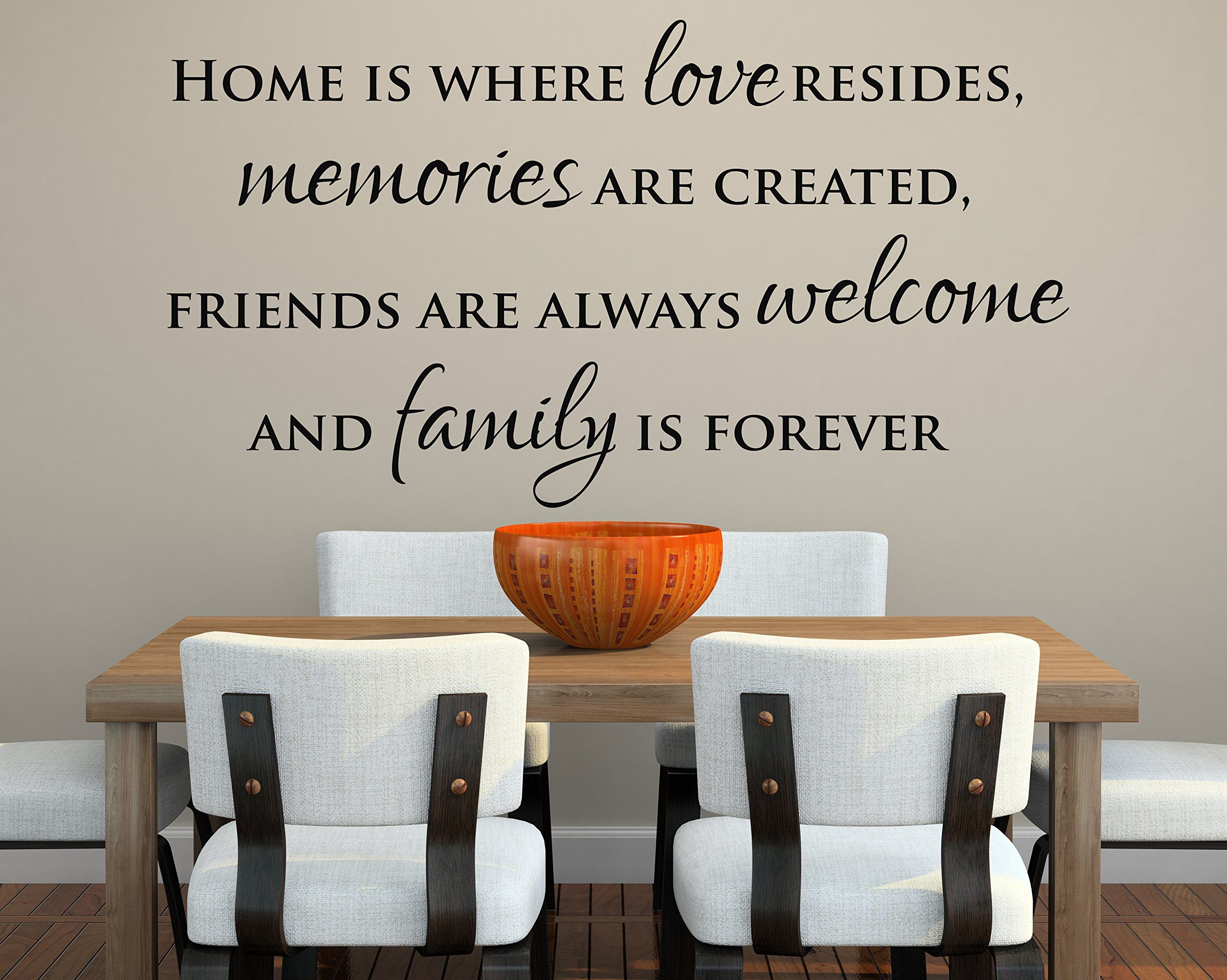 Home Is Where Love Resides, Memories Are Created, Friends Are Always Welcome and Family Is Forever Wall Decal Quote Lettering Words - Vinyl Wall Decal
