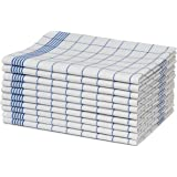 elb finesse ® 10er-Set Geschirrtücher / Geschirrhandtücher aus 100% Baumwolle / Trockentuch blau-weiß-karriert 50x70 cm / Küchentücher Serie ''Gastroliner'' / in weiteren Farben erhältlich