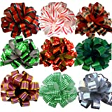 "Assorted Large Christmas Pull Bows for Gifts, Wreaths, Garlands - 8"" Wide, Set of 9, Red, Green, White, Gold, Striped, Plaid"