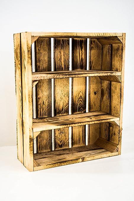 Caja de Madera Fruta con Estantes Sam, Quemada/Flambeada, Medidas 50x40x16cm. Incluye
