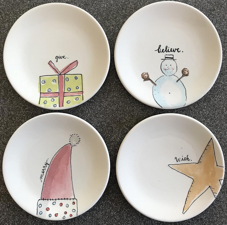 Amazon Com Rae Dunn 6 Inch Christmas Dessert Plates Dessert Plates