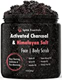 Charcoal Exfoliating Scrub with Himalayan Salt for Face and Body - Activated Charcoal Facial Scrub for Men & Women - Natural - Made in USA