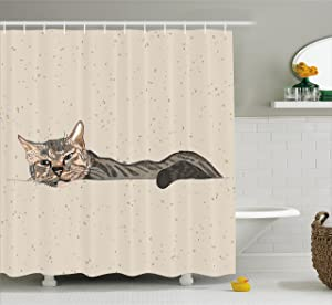 Ambesonne Cat Shower Curtain, Lazy Sleepy Cat Figure in Earth Tones Cute Furry Mascot Indoor Pet Art Illustration, Fabric Bathroom Decor Set with Hooks, 75 Inches Long, Tan Dimgrey
