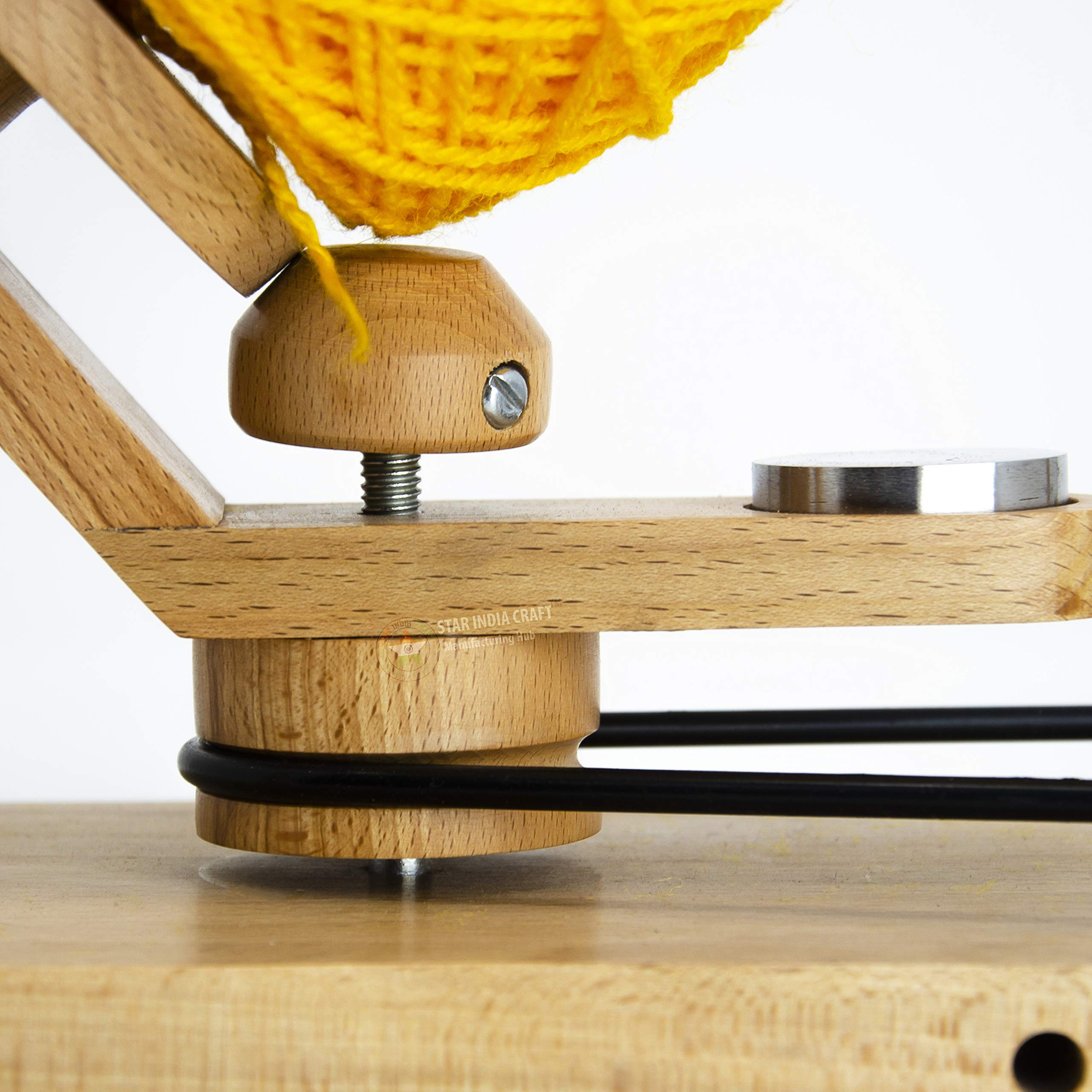 STAR INDIA CRAFT Handmade Center Pull Yarn Ball Winder - Natural Yarn Winder | Perfect DIY Knitter's Gifts for Knitting and Crocheting | Handcrafted Ball Winder (Yarn Winder, Standard) by STAR INDIA CRAFT (Image #3)