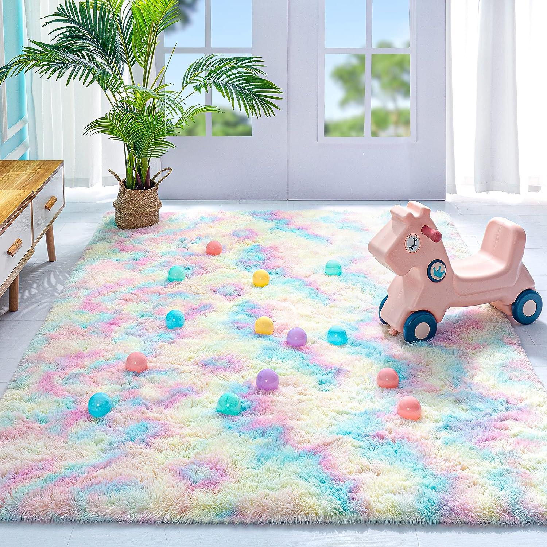 Noahas Fluffy Rainbow Rug for Girls Kids Luxury Shaggy Bedroom Rugs for Girls , Soft and Colorful Girls Room Decor Cute Shag Floor Carpets Nursery Home Decorations, 4 x 5.9 Feet