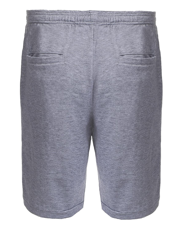 JINIDU Mens Casual Gym Sport Elastic Waist with Drawstring Zipper Shorts
