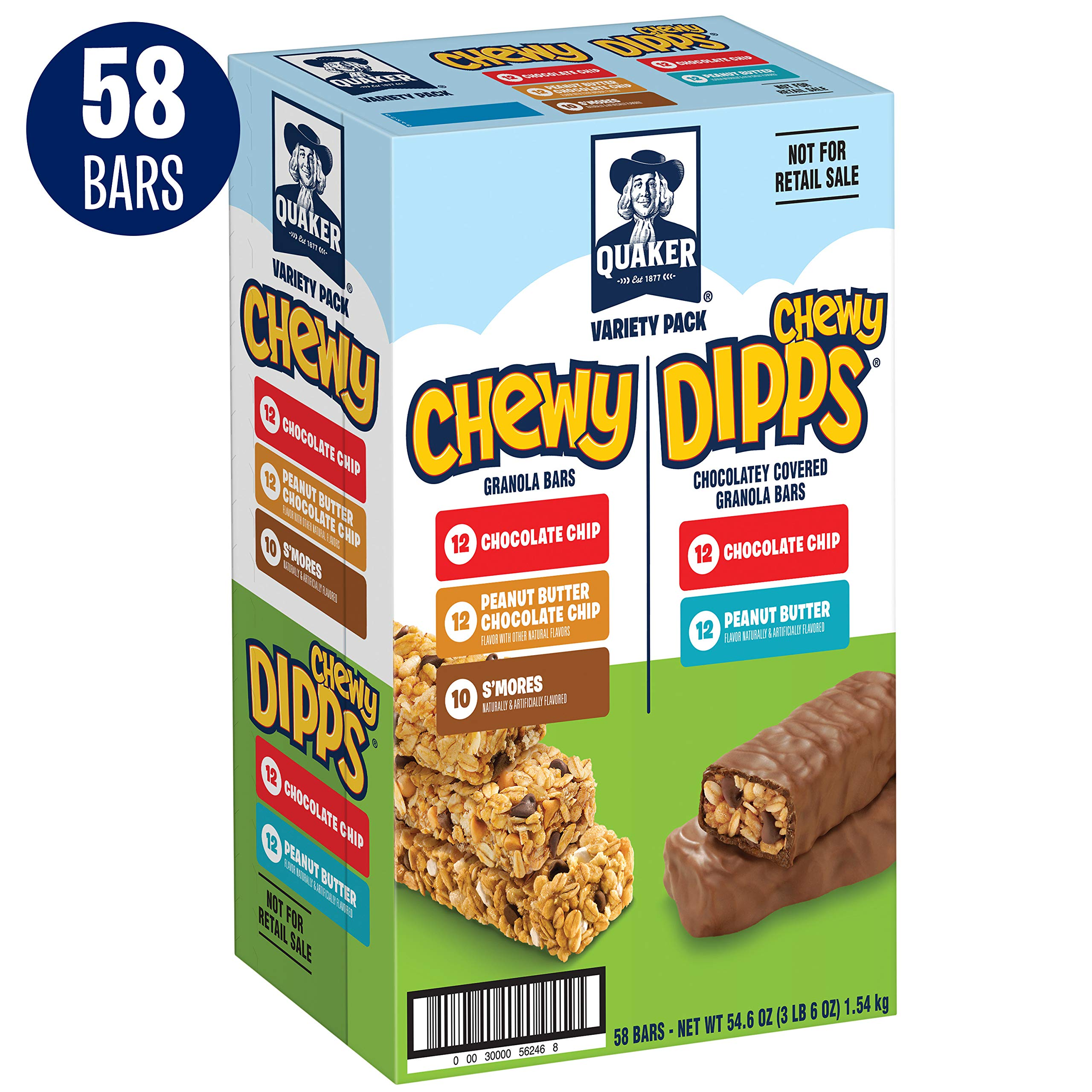 Quaker Chewy Dipps & Granola Bars, Variety Pack, 58 Bars by Quaker