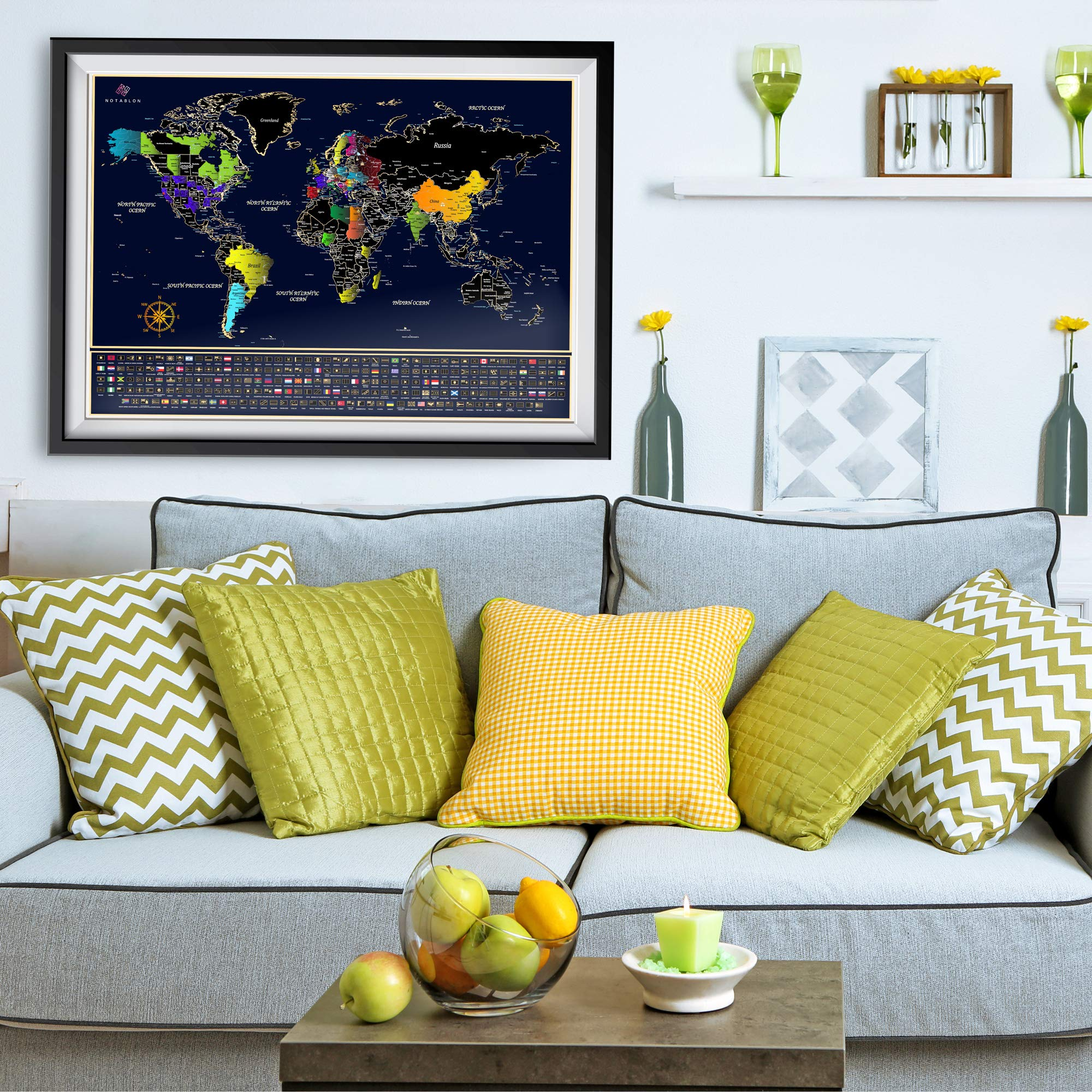 Unique Scratch Off Map of The World - Large Deluxe Personalized Travel Map Poster with B0NUS Scratch Off USA Map – Outlined US States, Landmarks, Roads, Rivers – All Accessories Included – Great GlFT by Notablon (Image #6)